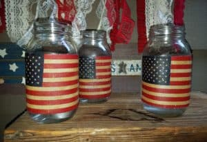 DIY Vintage Patriotic Candle Holder