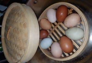 steaming quail eggs