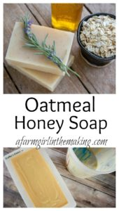 pinterest pin image for oatmeal honey soap.