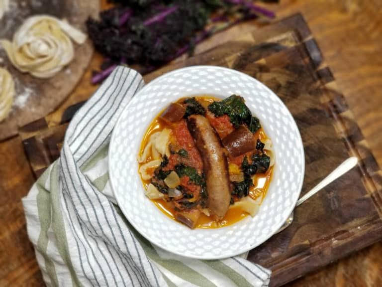 Italian Sausage and Eggplant Stew with Kale