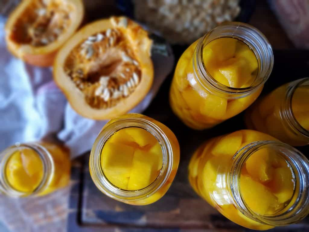quarte jars ready to for pressure canning pumpkin
