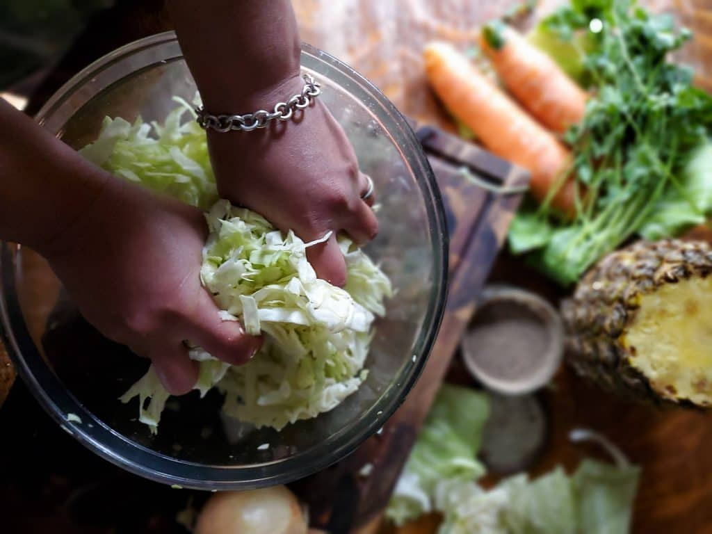 when making hawaiian kraut you must work the cabbage with salt to release the natural liquids from the cabbage.