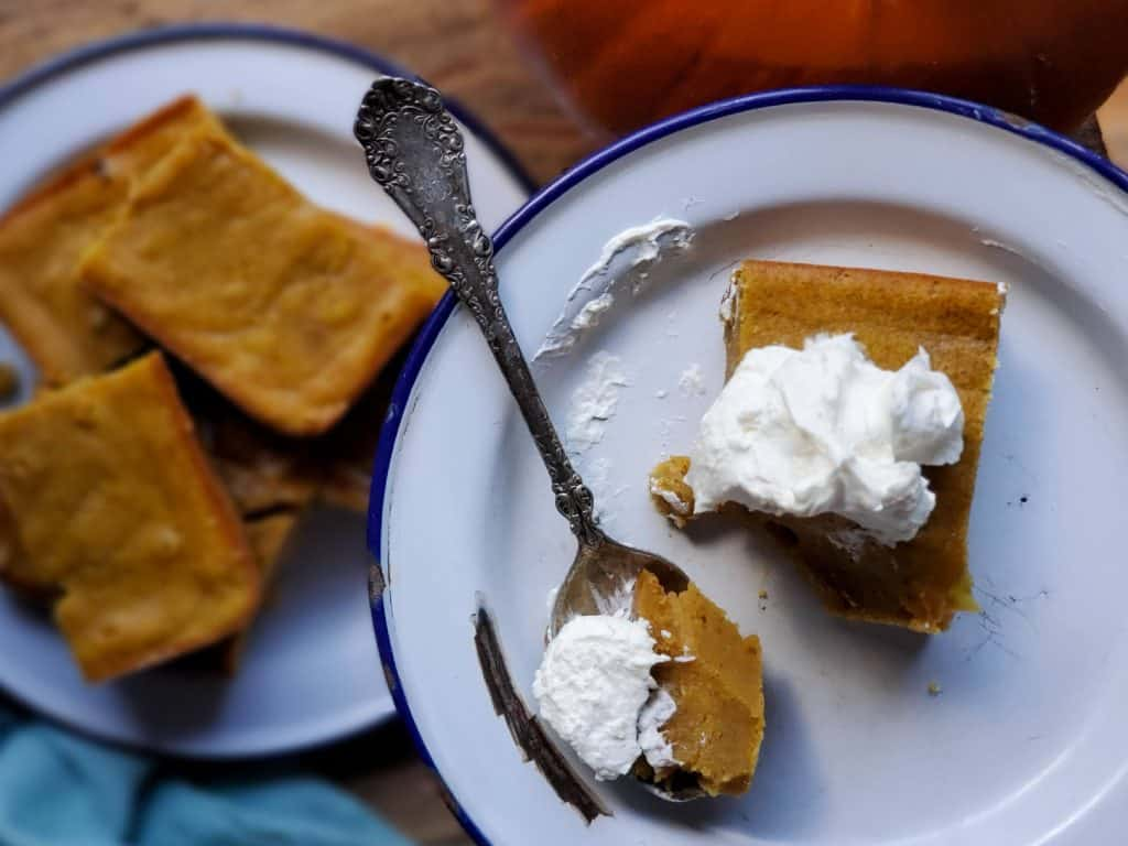 traditional homemade pumpkin bars served with homemade whipped cream is delicious!