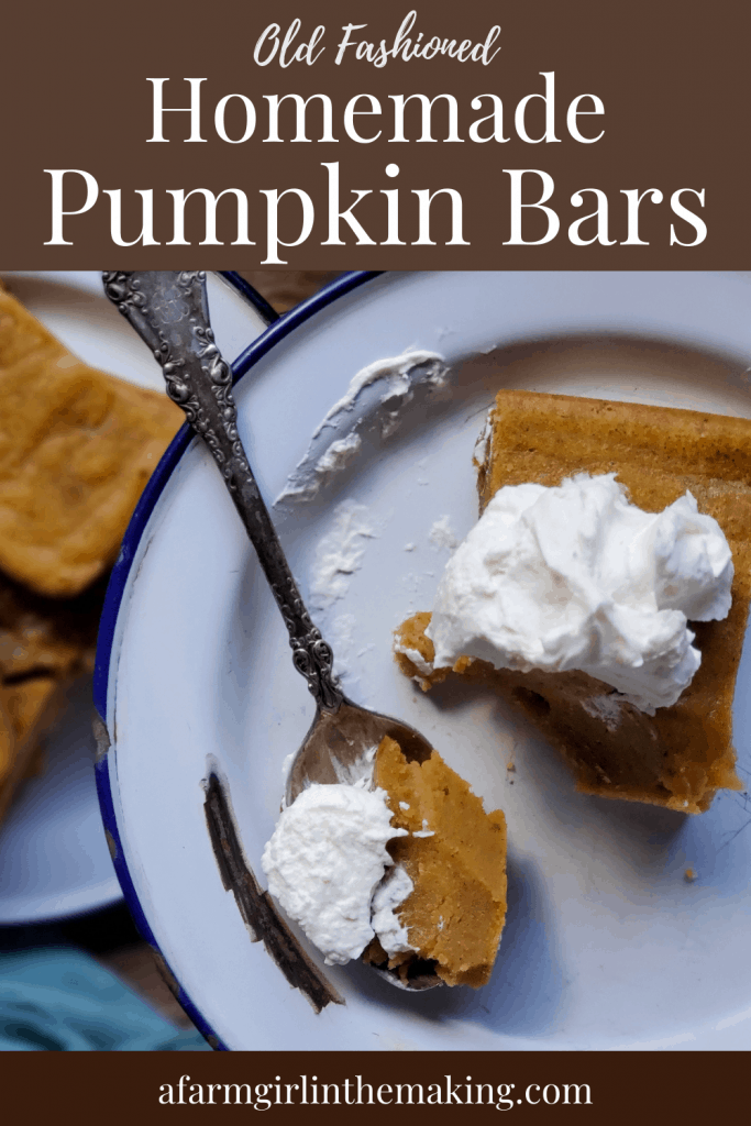 pin image for homemade pumpkin bars