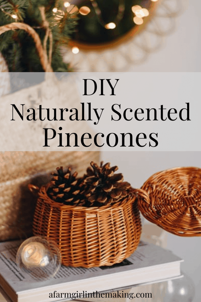 the Pinterest pin image for the DIY naturally scented pinecones