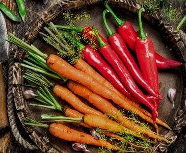 A plate of peppers and carrots.